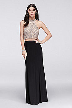 Caviar-Beaded Mesh and Jersey Faux Two-Piece Dress 58263D