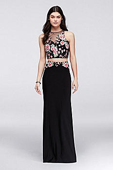 Rose-Embroidered Illusion Crop Top and Skirt Set 58411D