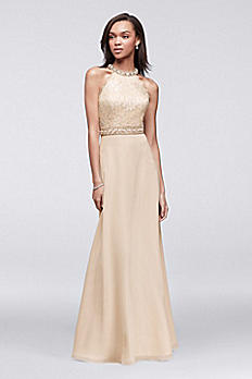 Lace and Chiffon Gown with Beaded High-Neck Bodice 58472D