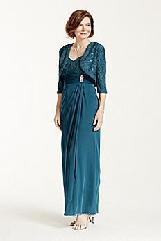 3/4 Sleeve Glitter Jacket with Long Chiffon Dress 5849