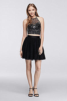Homecoming Crop Top Skirt Set with Beadwork D586J308