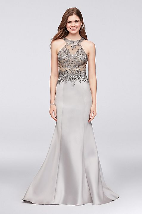 Beaded Illusion Bodice Mikado Mermaid Gown | David\'s Bridal