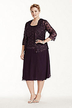 3/4 Sleeve 3 Piece Lace Chiffon Skirt Set 5909W