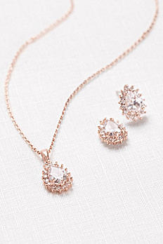 Almond Cubic Zirconia Necklace and Earring Set 60008S