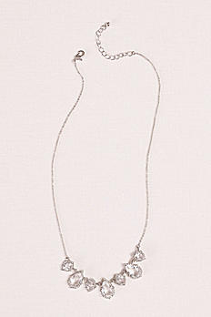 Crystal Pear  Shaped Pendant and Pave Necklace 60253N