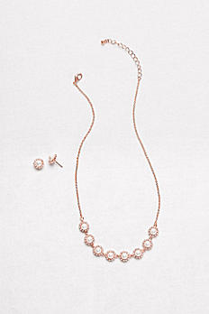 Pearl Halo Necklace and Earrings Set 60382S
