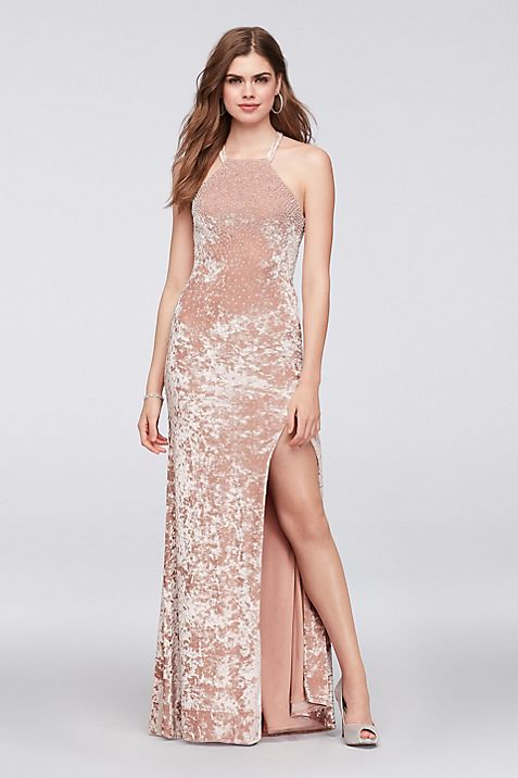 Crushed Velvet Halter Sheath Gown with Beading | David\'s Bridal