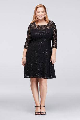Sl Fashions Sequined Lace Fit Flare Dress
