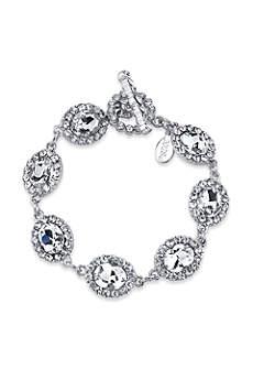 Oval Crystal Link Toggle Bracelet