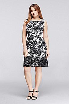 Sleeveless Printed Work Dress with Laser Cut Hem 614555