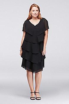 Georgette Plus Size Tiered Dress 617525