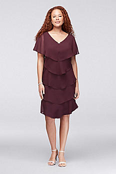 Tiered Georgette Plus Size Dress with Crystal Clip 617525