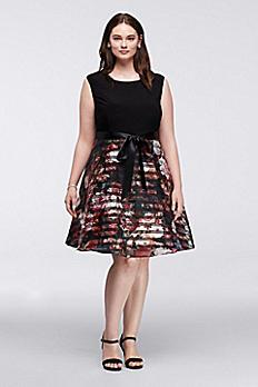 Short Cap Sleeve Plus Size Organza Party Dress 619075DW