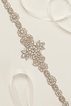 Rhinestone Cutout Beaded Sash 619201