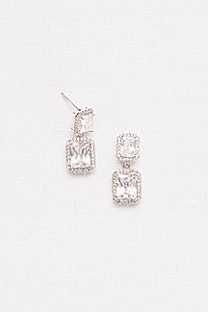 Radiant-Cut Cubic Zirconia Halo Drop Earrings 62530B