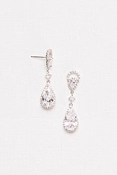 Marquise and Pear Cubic Zirconia Drop Earrings 62546B