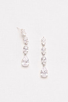 Cubic Zirconia Halo Teardrop Earrings 62608B