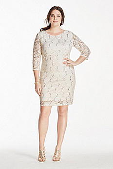 Short Sequined Lace Dress with Long Sleeves 642869W