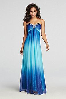 Strapless Beaded Neckline Glitter Ombre Prom Dress 643662I