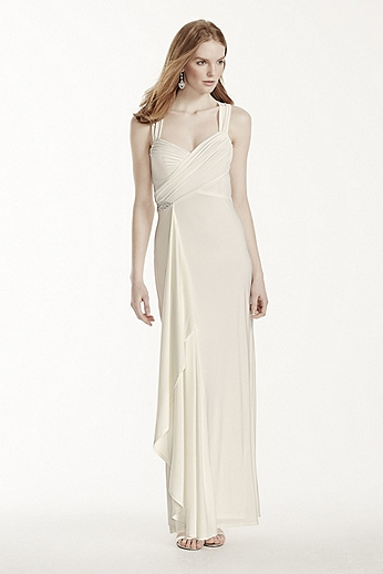 Long Jersey Sheath Dress with Crisscross Back 644210