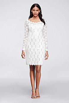 Sequin Lace Dress with Long Sleeves and Scalloping 644552B