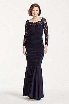 Long Sleeve Banded Glitter Lace Dress 644604
