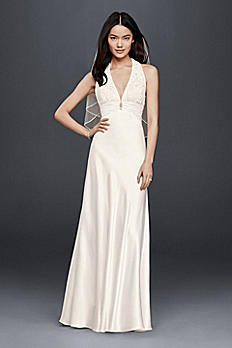Charmeuse Sheath Wedding Dress with Lace Halter 644796