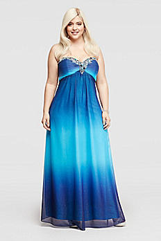 Strapless Glitter Ombre Prom Dress with Beading 643662IW
