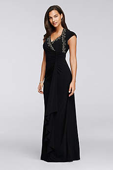 Long Sheath Cap Sleeves Mother and Special Guest Dress - Onyx