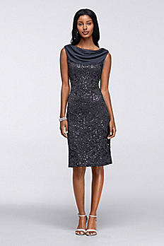 Short Sleeveless Stretch Sequin Lace Cowl Dress 648721