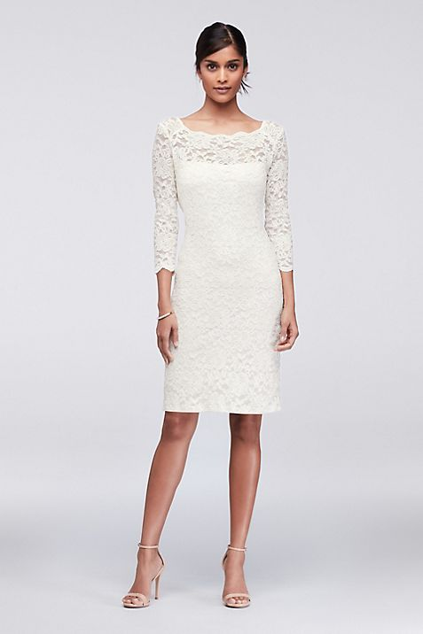 3/4-Sleeve Illusion Lace Cocktail Dress | David\'s Bridal