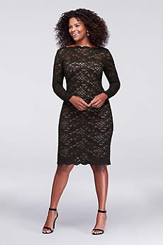 Short Sheath Long Sleeves Guest of Wedding Dress - Onyx