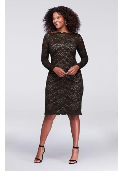 Long-Sleeve Scalloped Lace Plus Size Dress | David\'s Bridal