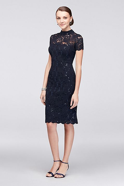 High-Neck Illusion Lace Sheath Dress   David\'s Bridal