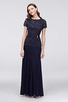 Long Mermaid/ Trumpet Short Sleeves Formal Dresses Dress - Onyx