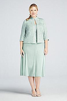 Tea-Length Mock Two Piece Dress with Jacket 6525360
