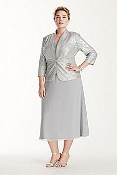 Silver Mock Three Piece Jacket Petite Dress 6525585