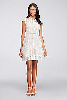 Short Cap Sleeve Lace Dress with Beaded Waist 6628KP6C