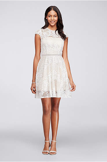 Ivory Short cap sleeve illusion lace dress with beaded waist