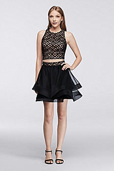 Lace Homecoming Crop Top with Tiered Skirt 6693NR6C
