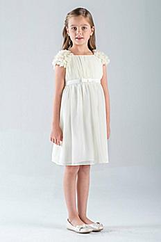Petal-Sleeve Chiffon A-Line Flower Girl Dress 670UA