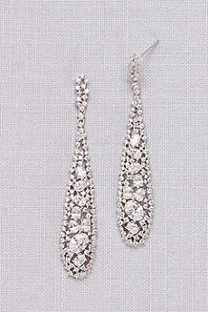 Long Crystal Pave Drop Earrings