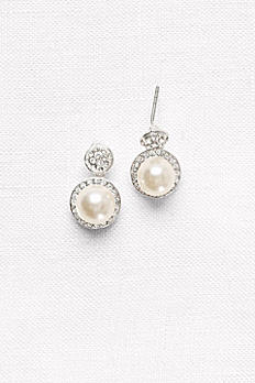 Pave Pearl Drop Earrings 67708C