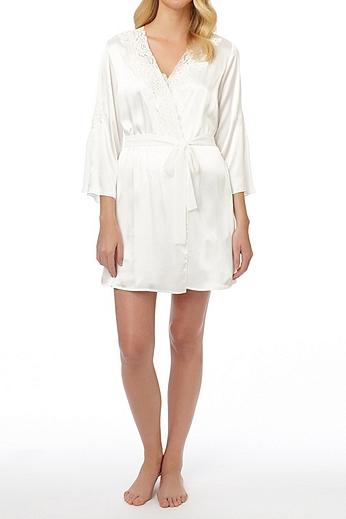 Oscar De La Renta Plus Size Lace Trim Robe 684722X