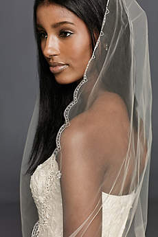 Floral Beaded Scallop Edge Cathedral Veil