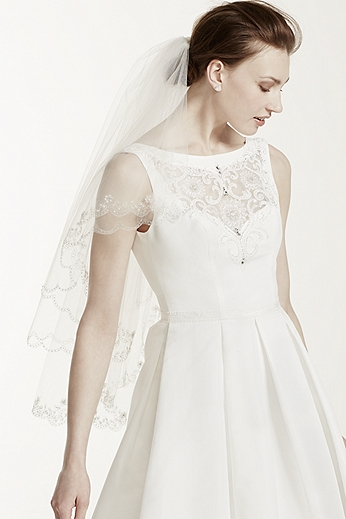 Fingertip Length Two-Tier Veil with Scallop Edge 689