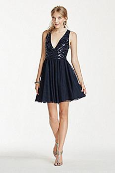 Sequin V-Neck Illusion Back Dress with Mesh Skirt 690581K5X