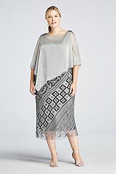 Sleeveless Long Crochet Dress with Chiffon Caplet 695093DW