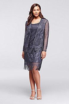 Metallic Crochet Jacket Dress with Fringe 695175DW