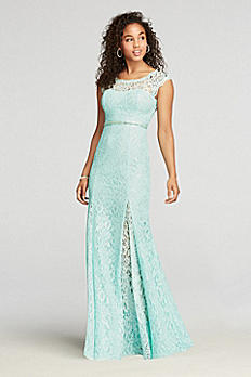 Lace Cap Sleeve Prom Dress with Beaded Waist 6960XZ8S